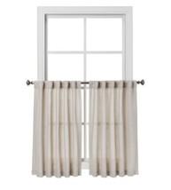 "Threshold Light Filtering Café Curtain Set Rod Pocket Bonaire Natural 42"" X 36"" - $14.27"
