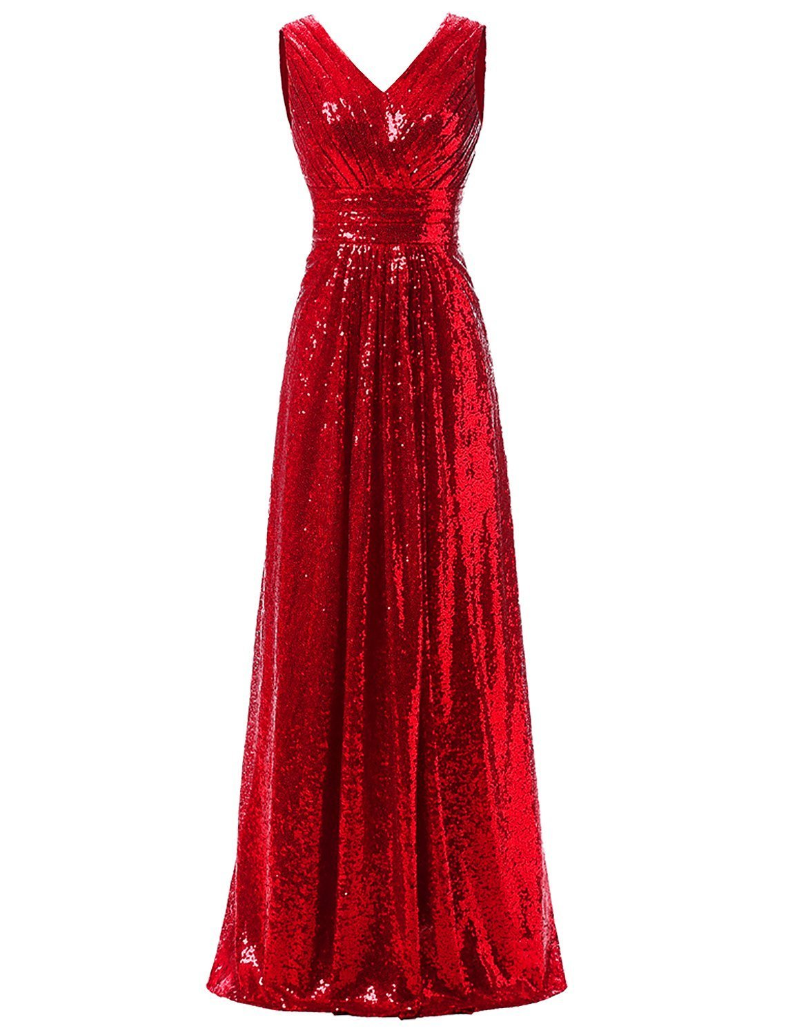 Women's Sequin Bridesmaid Dress Sleeveless Maxi Formal Gown Evening Prom Dresses