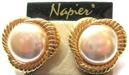 Vintage NAPIER BIG Faux Pearl Pierced Earrings w/Gold Propeller - $11.40