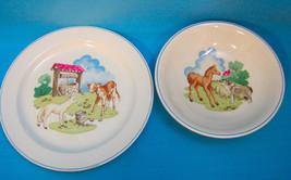 Copeland Spode England Pets Farm #03365 Plate & Bowl Cow Lamb Dog Pony White - $29.50