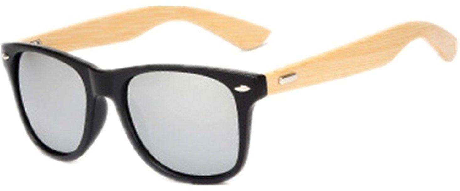 Shiratori Prevent Radiation Classic Bamboo Wood Sunglasses White - $20.18