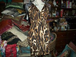 SABORA Sexy Wild Beaded Leopard Dress Size M - $14.85
