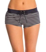 NEW Tommy Hilfiger Swimwear Sailing Stripes Boyshort Bikini Bottom Navy white S - $17.81