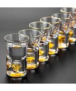 LOULONG® Top Grade Manual Crystal Shot Glass Built In Pure Gold Goldleaf... - $59.28+