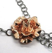 Collar Plata 925 Negro y Rosa, Cadena Rolo, Flor Rosa , Esferas Colgantes image 3