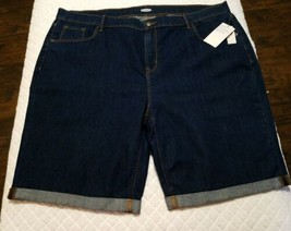 "Old Navy Women's Stretchy Blue Jean Rolled Cuff Shorts 9"" Inseam Plus Sz... - $18.57"