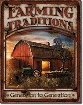 Farming Traditions John Deere IH Tractor Farm Vintage Wall Decor Metal Tin Sign - $9.99
