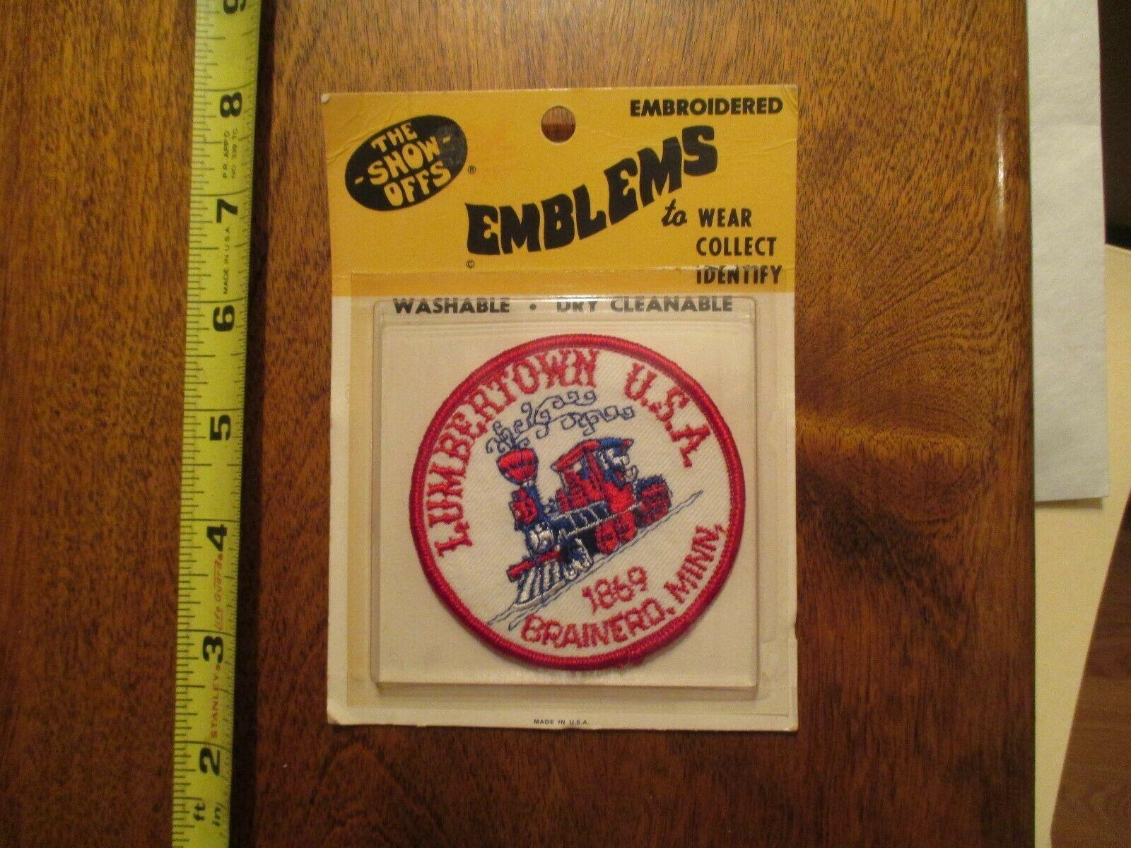 Brainerd Minnesota Lumbertown USA Embroidered Emblems Sealed Sew on Travel Patch
