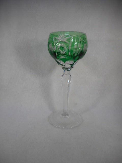 Vintage Green Bohemian Czech Glass Cut to Clear Wine Goblet
