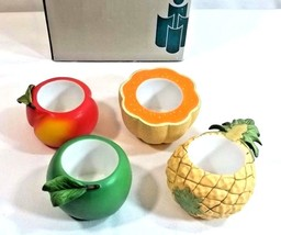 Partylite Fruit Splash Votive Candle Holders Peach Apple Pineapple Musk ... - $12.82