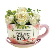 Patio Planter, Decorative Pink Flamingo Teacup Outdoor Garden Planters - $30.39