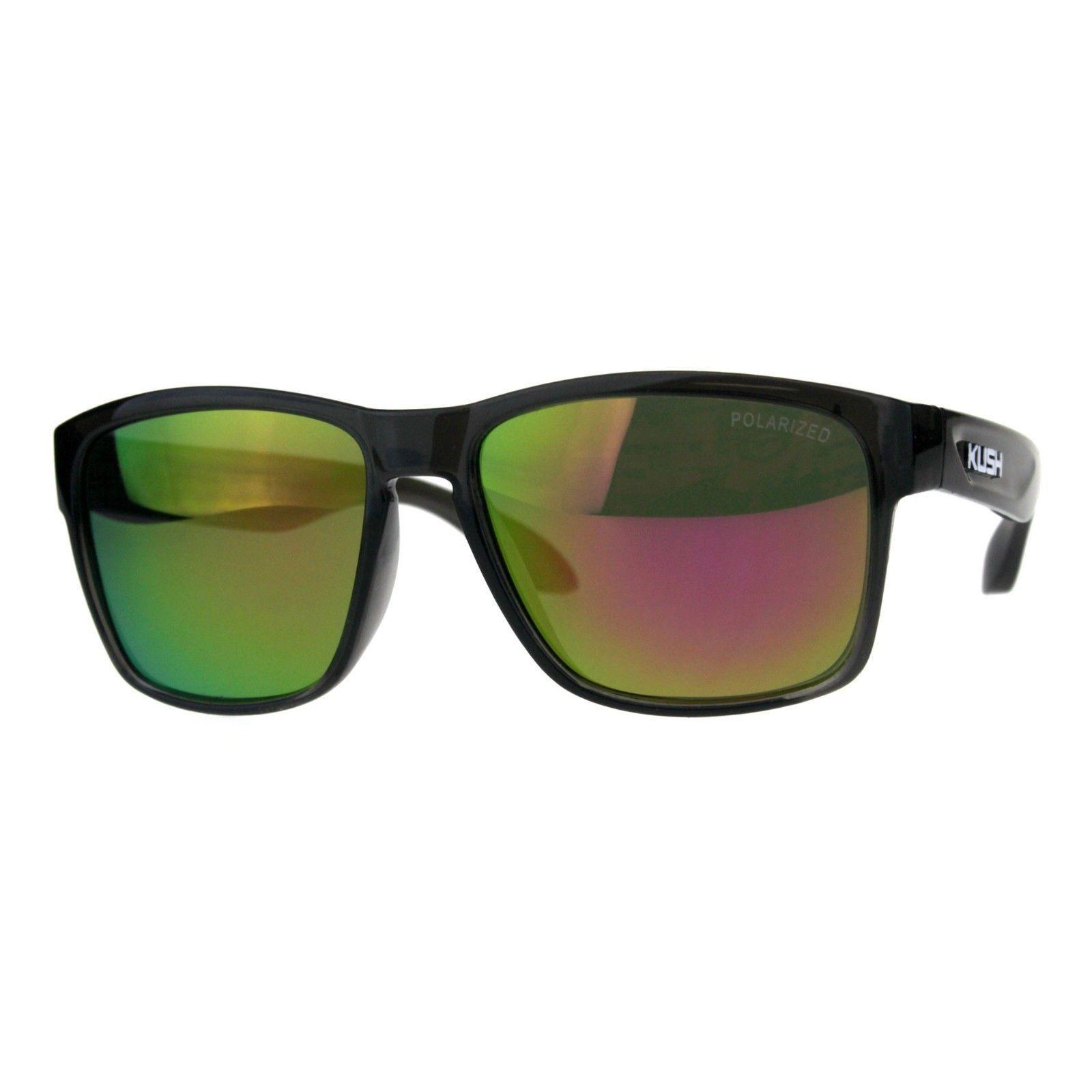 Polarized Lens Kush Sunglasses Gray Rectangular Plastic Frame Mirrored Lens