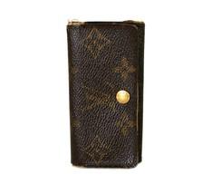 Auth LOUIS VUITTON Monogram Brown Canvas Leather 4 Hooks Key Case/Holder... - $88.00