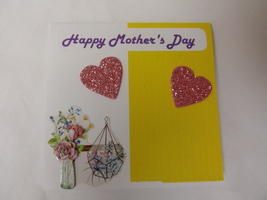 Happy Mother's day Handmade greeting card with pink and yellow background - $3.25