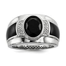 Men's Sterling Silver Onyx & Diamond Ring - $264.99
