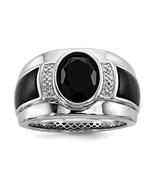 Men's Sterling Silver Onyx & Diamond Ring - $269.99