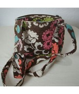 VERA BRADLEY Small Quilted Purse 2 Compartment Brown Pink Floral Shoulde... - $24.06