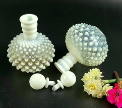 Vintage Anchor Hocking Opalescent Moonstone Hobnail Glass Bottles - Set ... - $25.00
