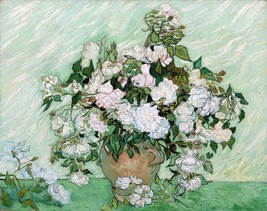 Stretched Canvas - Vase with Pink Roses Painting Vincent van Gogh Reprod... - $118.99+