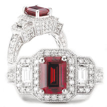 Red Garnet Emerald Cut Antique Design Womens Wedding Ring Solid 14k Whit... - $599.99