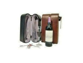 AmeriLeather Leather Double Wine Case Holder Black - $29.70