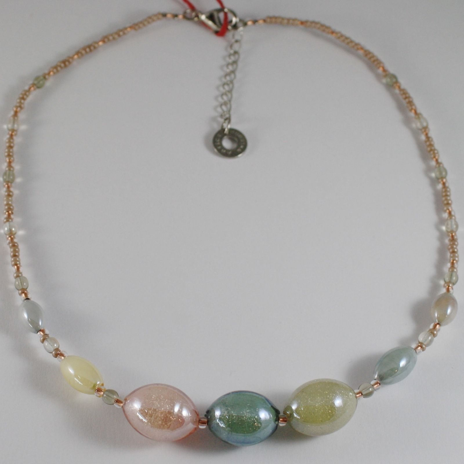 COLLIER ANTICA MURRINA VENEZIA AVEC VERRE DE MURANO BEIGE ROSE GRIS CO994A03