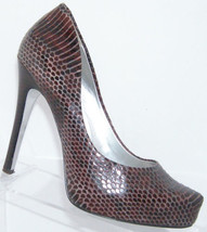 Jessica Simpson Pairgi burgundy snake print leather pointed platform hee... - $28.66