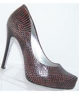 Jessica Simpson Pairgi burgundy snake print leather pointed platform hee... - $28.66