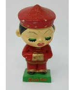 Vintage Asian Kiss Me Bobble Head Red Dress Green Base Nodder Japan HTF - $24.26
