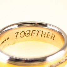 18k yellow gold Concave Wedding Band Ring with diamonds UK size M BHS - $1,032.76