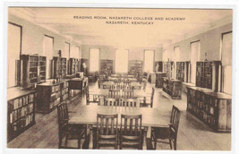 Reading Room Interior Nazareth College Academy Kentucky postcard - $6.93