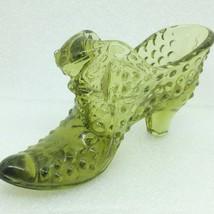 Vintage Fenton Cat Face High Heel Hobnail Slipper Shoe Olive Green Glass - $13.57