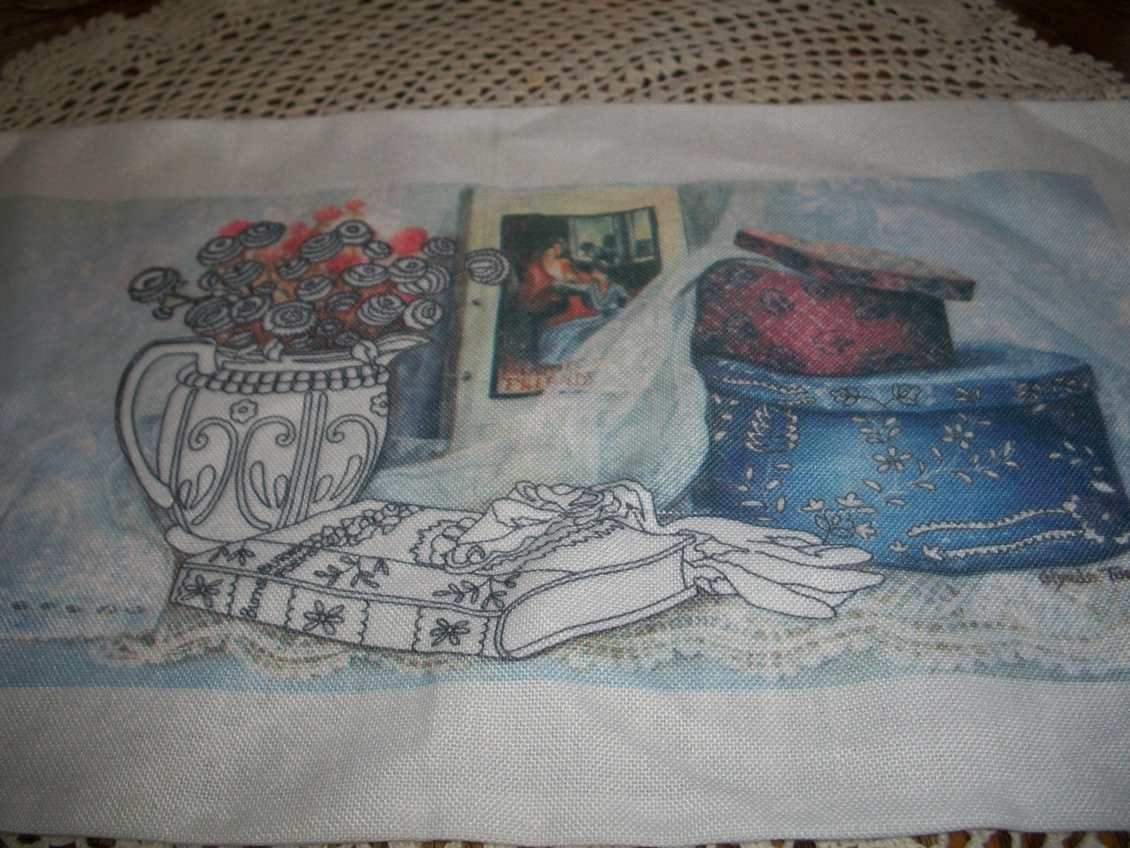 Primary image for Hat Box Stamped Cross Stitch Fabric