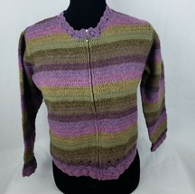 Talbots Womens Sweater Sz S Sm Hand Knit Lambswool Purple Green Full Zip ** - $20.08