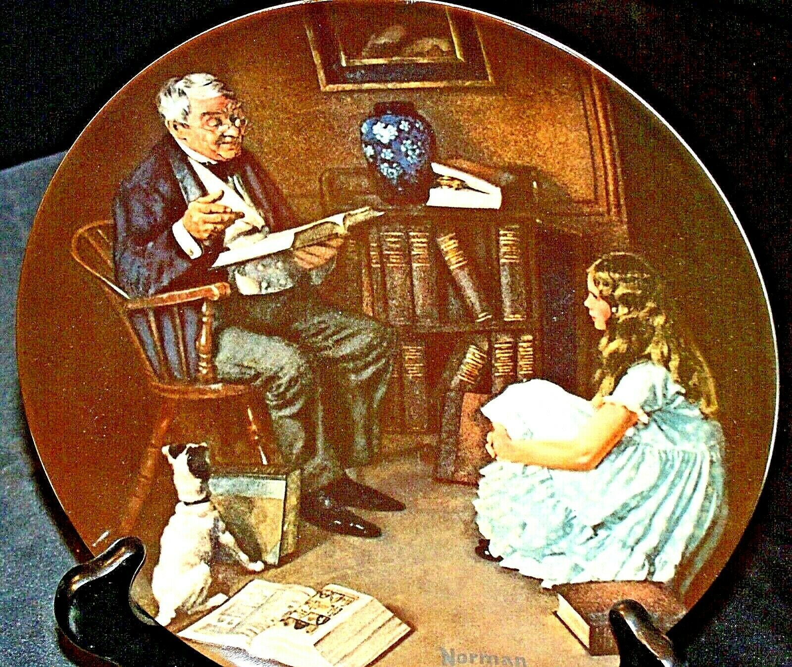 The Storyteller by  Norman Rockwell Plate with Box ( Knowles ) AA20CP2176