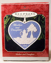 Hallmark: Mother and Daughter - Heart Shaped Porcelain - 1998 - Holiday Ornament - $8.54