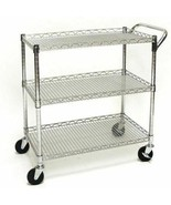 3 Tier Wire Steel Utility Cart Rolling Storage Heavy Duty Trolley Rack S... - $117.71