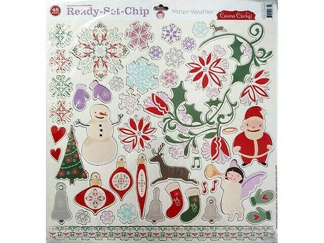 Cosmo Cricket Ready-Set-Chip Mitten Weather Chipboard Shapes, Holidays