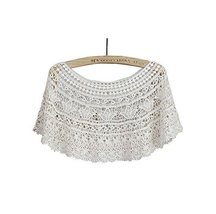 Women's Hollow-out Shawl Capelet Short Shirt Blouse, Lobular Grass, WHITE