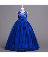 Cute Lace Royal Blue Short Flower Girl Dresses Bady Pageant Gowns A Line... - $38.95