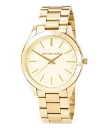 MK3335 Women's Slim Runway Gold Tone Dial Yellow Gold Steel Bracelet Watch - $144.99