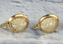 Vintage Yellow Gold Filled Carved Mother Of Pearl Screw Back EARRINGS - $19.95