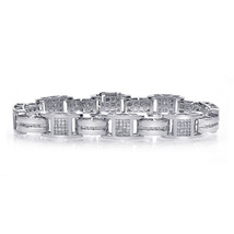 3.50 Carat Mens Diamond Bracelet 14K White Gold - $4,553.01
