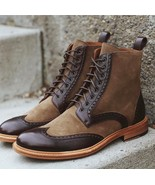 Handmade Men's Suede Leather Lace Up Fashion Boot, Men's 2 Tone Brown An... - $159.99+