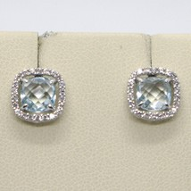 18K WHITE GOLD EARRINGS CUSHION SQUARE BLUE TOPAZ, ZIRCONIA FRAME, MADE IN ITALY image 2