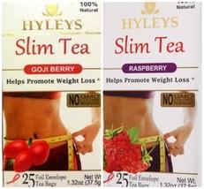 Hyleys 100% Natural Slim Tea 2 Pack, Goji and Raspberry Flavor (25 Teabags each) - $12.99