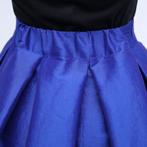 Lady PLEATED Ruffle MIDI Skirt Taffeta Midi Pleated Holiday Skirt-Blue,Plus Size image 4