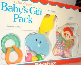 Fisher Price Baby Gift Pack 1983 Crib Playpen Toys teether activity ring... - $24.77