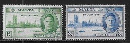 1946 Peace and Victory Set of 2 Malta Postage Stamps Catalog Number 206-07 MNH