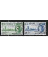 1946 Peace and Victory Set of 2 Malta Postage Stamps Catalog Number 206-... - $5.95